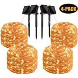 Gluckluz Solar String Lights 200 LED Outdoor Copper Wire Light Fairy Lighting Waterproof Starry Decoration Light for Bedroom