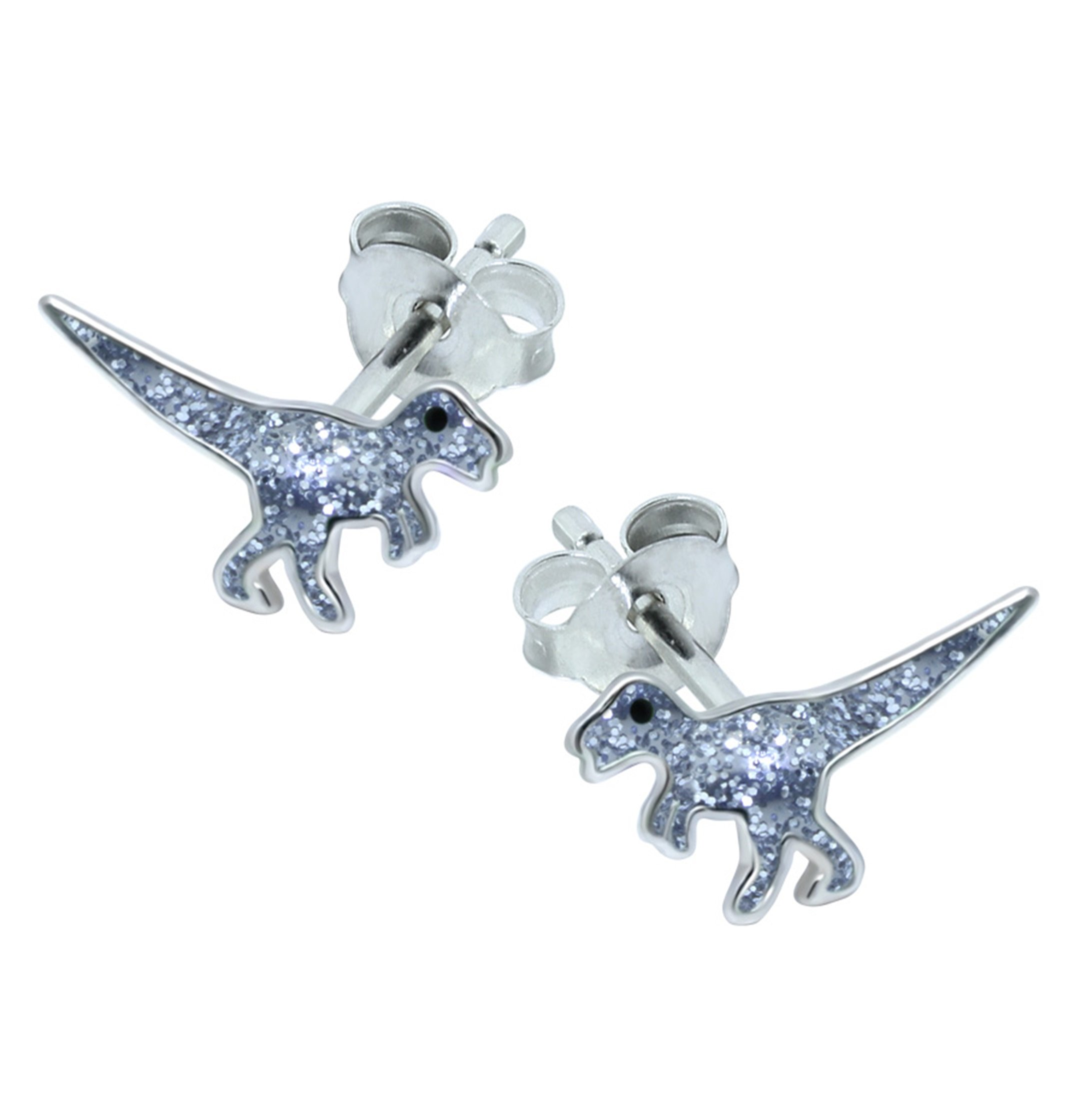 Glitter T-Rex Dinosaur Earrings – Sterling Silver Gift