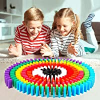 LADWA® 60 Pcs Super Dominos Blocks, 12 Color Bulk Wooden Dominos Blocks Set, Kids Game Educational Play Toy, Domino…