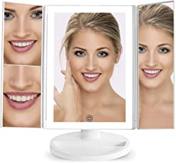 Ozoy Tri-Fold Lighted Vanity Mirror with 21 LED Lights Touch Screen 1X/2X/3X Magnifying Makeup Mirrors, 2 Power Supply Modes -21 LED
