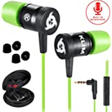 KLIM Fusion Kopfhörer in Ears mit Mikrofon - Langlebig - Innovativ: In-Ear Kopfhörer mit Memory Foam - Neue 2020 Version - 3.5 mm Jack - Sport Gaming In Ear Kopfhörer - Grün