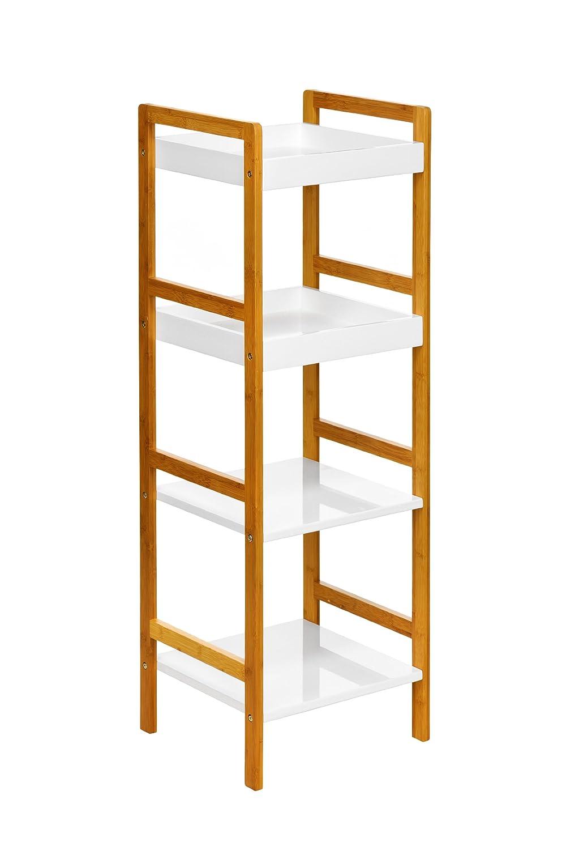 Bamboo bathroom shelf unit - Premier Housewares Bamboo 4 Tier Shelf Unit White Amazon Co Uk Kitchen Home