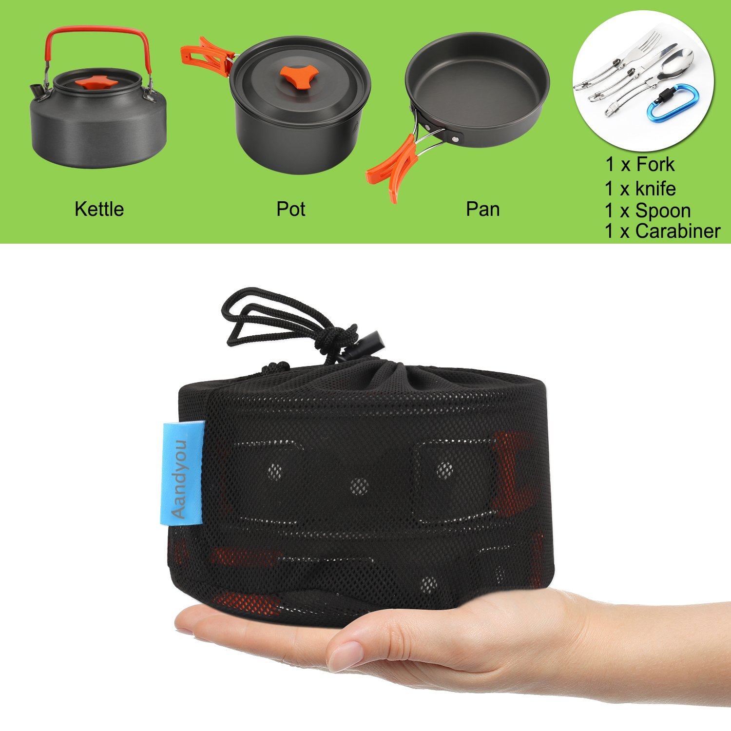 56908ab89775 Camping Cookware Kit ,Outdoor Cooking Set Non Stick Camping Pans and Pots  Lightweight Campfire Cooking Kettle for 1 to 5 People ...