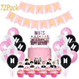 Jimiston BTS Birthday Party Supplies – 30 BTS Globos / 40 toppers para cupcakes / 1 decoración para tarta de cumpleaños / 1 p