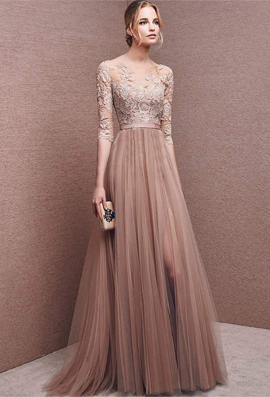 76eca63d4b51 Minetom Donna Vestito Lungo Abito Da Cerimonia Elegante Vestiti Da Matrimonio  Lunghi Formale Banchetto Sera Maxi Dress Pizzo