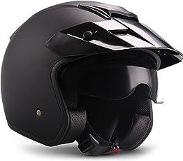 Moto Helmets Motorrad-Helm, Schwarz, Größe M (57-58 cm)