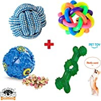 BLACK DOG Toys for Pets Natural Rubber/Rope Chew Toys,Teething Toys,Interactive,Dog Chew Combo for Small/Medium Dog Toys (Color May Vary)