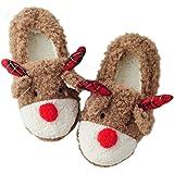 Vegaltair Women's Rudolph Reindeer Winter House Slippers