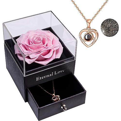 Rosa Stabilizzata Eterna Rosa Reale Conservata con Collana Love You Regalo in 100 Lingue, Rosa Reale Incantata per San Valentino Regalo di Anniversario di Matrimonio per la Mamma della Mamma per Lei