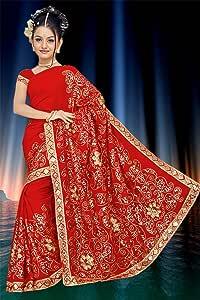neu rot Indischer Bollywood Pailletten Stickerei Sari