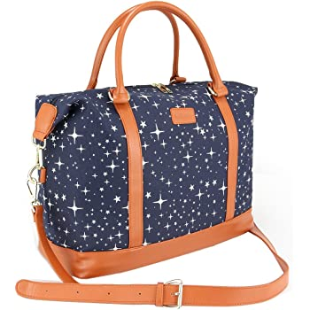 Women Travel Weekender Bag,AIZBO High Fashion Print Star Duffel Bag  Overnight Weekend Bags Carry-on Shoulder Gym Tote Bag with PU Leather  Strap,Back Trolley ... 097f625feb