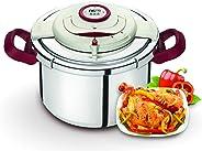 Tefal Clipso Precision Pressure Cooker, Silver/Burgundy,  8L, P4411462