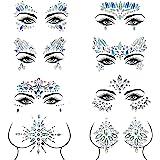Czemo Bindi zelfklevende strassteentjes voor gezicht, 8 stuks, voor het gezicht, sierstenen, zelfklevend, strassteentjes, gli
