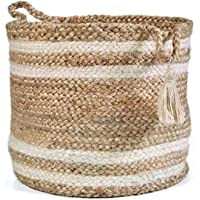NEWWAYSS Bhuvan handloom Jute Planter Pots/Storage Basket with handle, Multi-Purpose use for Bathroom Living Room (10x12…