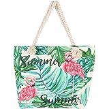 BJ-SHOP Strandtasche,Badetasche Grobe Feiertags Einkaufstasche Sommer Segeltuch Reise Umhangetasche mit Reibverschluss Einkau