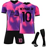 2021 Voetbalshirt # 7 Mbappé 10#Neymar # 11 Di Maria Away Game Voetbalshirt Set Korte Mouwen Shorts Pak Wk Voetbal voor Kinde