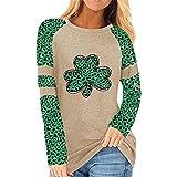 Sudadera de trébol de cuatro hojas para mujer, para el día de San Patricio, camiseta de trébol, túnica de manga larga