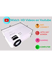 """JICSON J33 Portable WiFi Projector MIRACAST (Android/iOS) with 120"""" Display Size 2000 LUMENS for LED TV DVD PC Ultra Clear Display WiFi/USB/HDMI/VGA/Memory SD Card"""