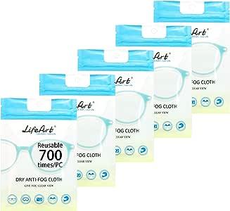 Lot de 5 lingettes anti-buée, chiffons de nettoyage pour lunettes de vue, lingettes nettoyantes idéales pour les lunettes, les tablettes, les objectifs de l'appareil photo, les écrans