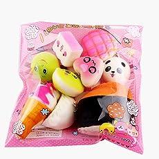 Kword Giocattoli di Decompressione,10Pcs Medio Mini Morbido Softy Pane Giocattoli Chiave,Set Gioco Per Bambini, Squishy Kawaii