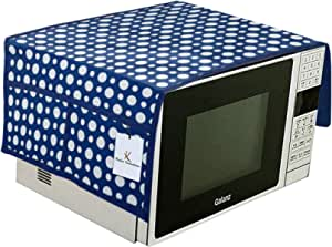 Kuber Industries Polka Dots Design PVC Microwave Oven Top Cover with Utility 4 Pockets (Blue) CTKTC33188