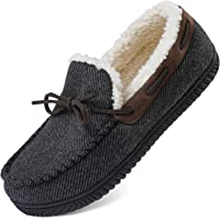 ULTRAIDEAS Men's Comfort Moccasin Slippers Memory Foam House Shoes with Anti-Skid Rubber Sole, Indoor/Outdoor