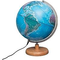 Magellan Mora Leuchtglobus 30cm Durchmesser Standfuss aus Holz Globus mit topografischem Kartenbild beleuchtet…