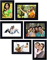 Amazon Brand - Solimo Collage Photo Frames (Set of 6, Wall Hanging),Black