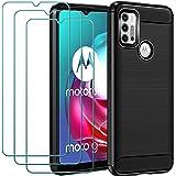 ivoler Funda para Motorola Moto G30 / G20 / G10 con 3 Unidades Cristal Templado, Fibra de Carbono Carcasa Protectora Antigolp