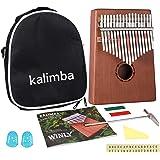 Kalimba 17 clés – Piano à pouce kalimba avec instructions d'apprentissage et marteau d'accordage, en bois africain Mbira Sanz