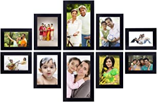 Solimo Collage Photo Frames (Set of 10, Wall Hanging) (Black)