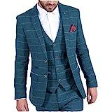 MoranX Casual Men's Suits Regular Fit 3 Pieces Tweed Wool Plaid Prom Tuxedos Business Jacket Blazer Vest Pants Grooms Wedding