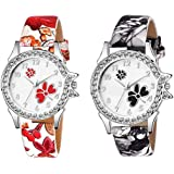Watch City Analogue Women's Watch (Multicolored Dial Multi Colored Strap) (Pack of 2)