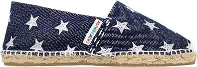 Espadrillas classica, ricamata, con stelle, jeans