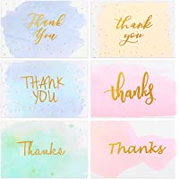 48 Pack Thank You Cards Pack, Gold Foiled Watercolor Greeting Cards with Envelopes for Wedding, Bridal Shower, Baby Shower, Christmas, Business, 6 Design