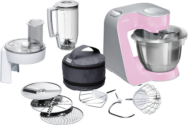 Bosch-MUM5-MUM58K20-CreationLine-Kchenmaschine-1000-W-3-Rhrwerkzeuge-Edelstahl-splmaschinenfest-Rhrschssel-39-Liter-max-Teigmenge-27kg-Durchlaufschnitzler-3-Scheiben-Mixaufsatz-pink