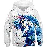 Fanient Kids Teen Girl Boy Hoodies 3D Print Vivid Animal Cartoon Graphic Sweatshirt Pocket Pullover Hoodie for 6-16Y