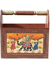 Apka Mart The Online Shop Wooden Handcrafted Newspaper and Magazine Decorative Stand Showpiece Cum Book Holder (12-inch Height, Multicolour)