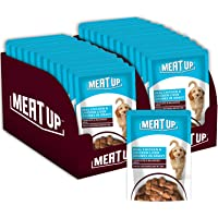 Meat Up Wet Dog Food, Real Chicken and Chicken Liver Chunks in Gravy, 12 Pouches (12 x 70g)