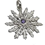 Colgante Eguzkilore de plata con piedra - Colgante de plata mujer - colgante flor plata - (plata brillo, Plata)
