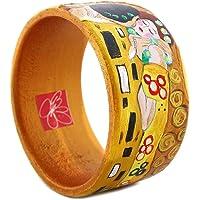 Bracciale dipinto a mano – IL BACIO DI KLIMT - Bracciale da donna, Gioiello in legno dipinto a mano, Made in Italy…