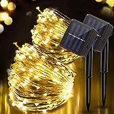 Fulighture Solar Lichterkette Außen,kupferdraht lichterkette solar, 100 LED kupferdraht lichterkette 10m Wasserdicht 8 Modi S