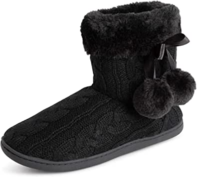 Polar Womens Memory Foam Pom Pom Winter Faux Fur Luxury Plush Cosy Anti Slip Indoor Outdoor Slippers