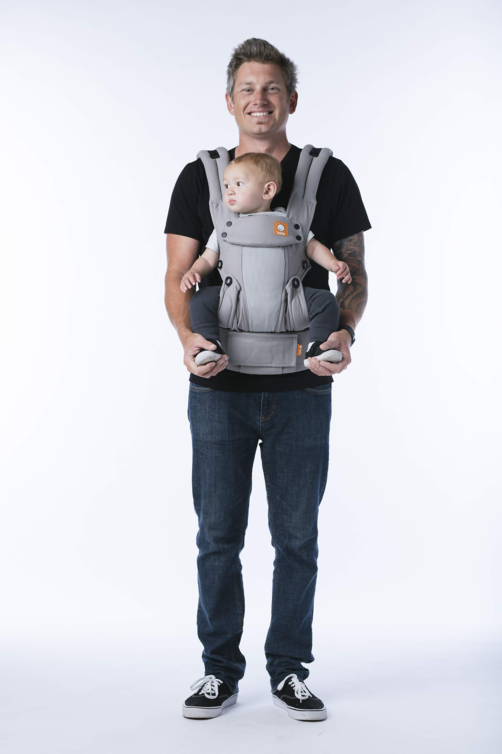 Baby Tula Coast Explore Mesh Baby Carrier 7 - 45 lb, Adjustable Newborn to Toddler Carrier, Multiple Ergonomic Positions Front and Back, Breathable - Coast Overcast, Light Gray with Light Gray Mesh Tula STAY COOL MESH CARRIER PANEL: Large mesh panel provides extra ventilation for optimal breathability to keep wearer and baby cool. BREATHABLE & LIGHTWEIGHT MATERIAL: Soft and lightweight 100% cotton with a large breathable mesh panel and hood that's easy to clean and machine washable. EVERY CARRY POSITION YOUR BABY WILL NEED, INCLUDING FACING OUT: Multiple positions to carry baby including front facing out*, facing in, and back carry. Each position provides a natural, ergonomic position best for comfortable carrying that promotes healthy hip and spine development for baby. 4