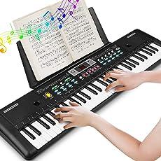 Elektronische Keyboard Piano 61 Key, tragbare Klaviertastatur mit Notenständer, Mikrofon, Netzteil Digital Music Piano Keyboard für Kinder/Erwachsene