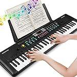 Teclado Electrónico Piano 61 Teclas, Teclado de Piano Portátil Con Atril, Micrófono, Fuente de Alimentación, Música...