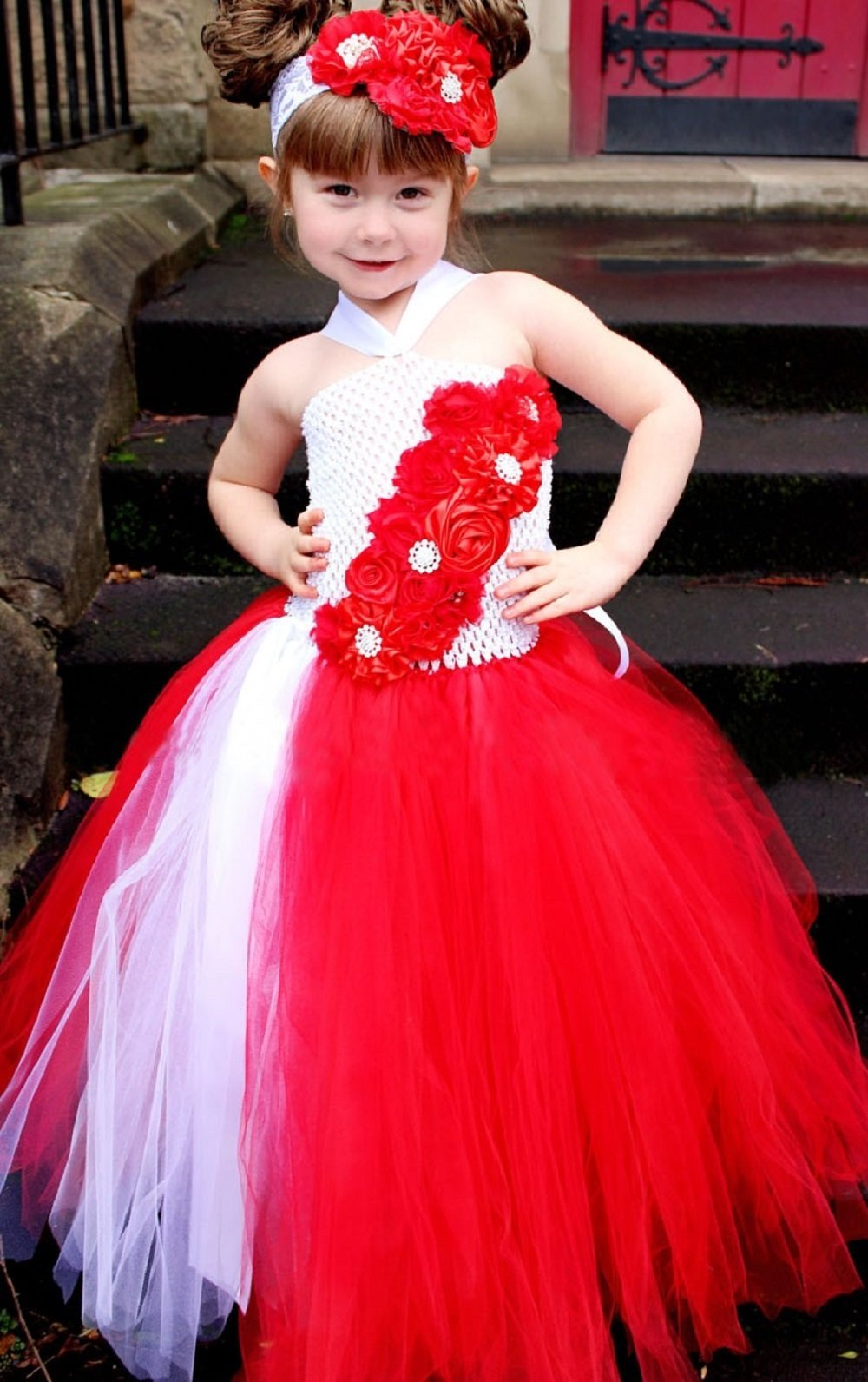 22c97b928 Red & White Flower Girl Wedding Tutu Dress Birthday Party Pageants ...