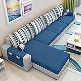 CasaStyle Adona 5 Seater Fabric LHS L Shape Sofa Set (Dark Blue- Light Grey)