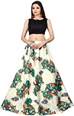 Riveira Fashion Women's Banglori Satin Lehenga Choli (gareeb_12, White, Free Size)