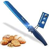 Wanbasion Bleu Couteau à Pain Ergonomique de Cuisine Scie, Couteau à Pain INOX Petit Professionnel, Couteau à Pain Plastique